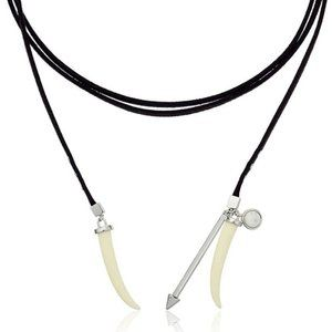 REBECCA MINKOFF Long Faux Leather Horn Necklace